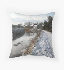 Bridgwater and Taunton Canal - winter scene #2. Throw Pillow