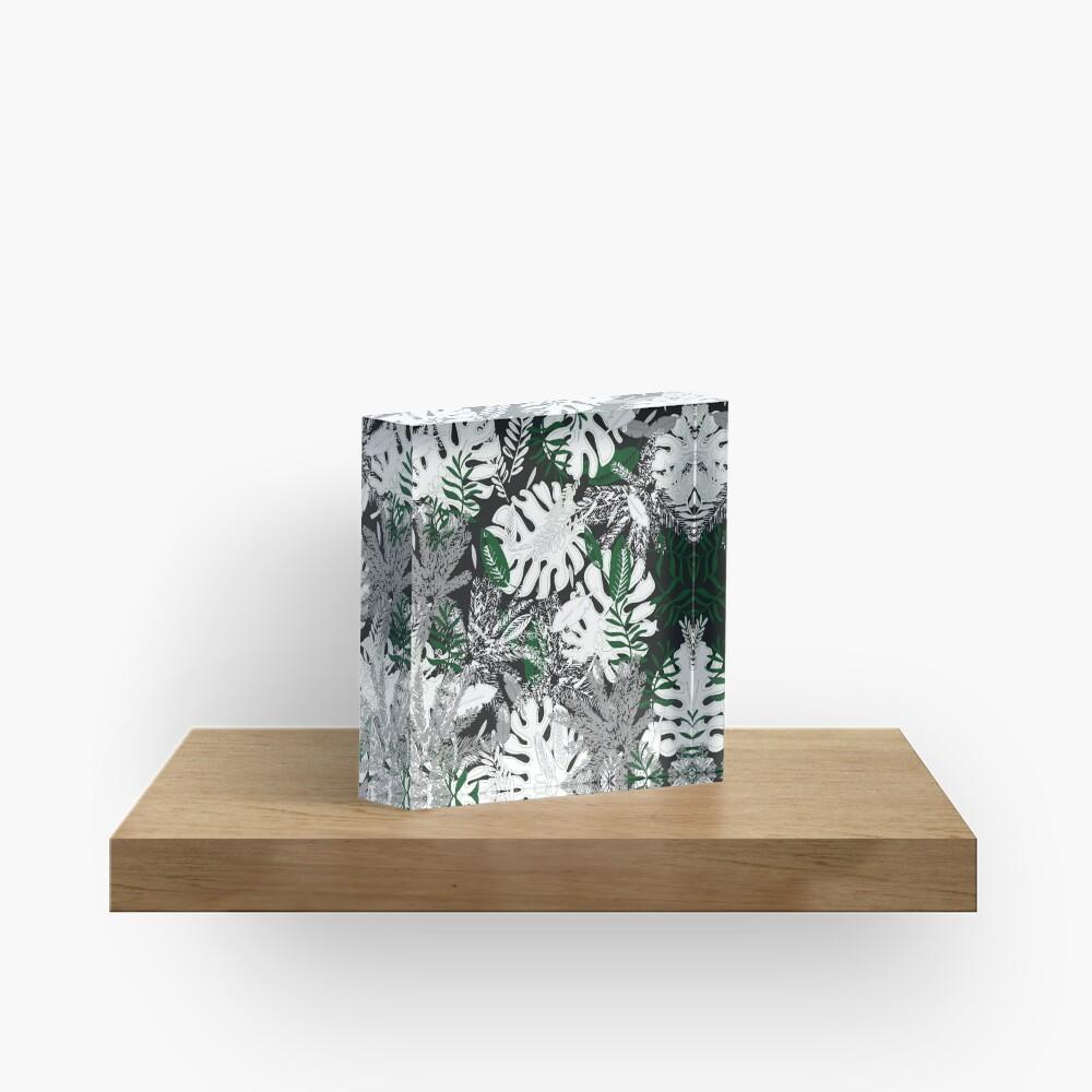 White Monstera Acrylic Block
