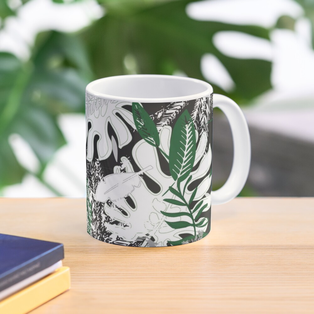 White Monstera Mug