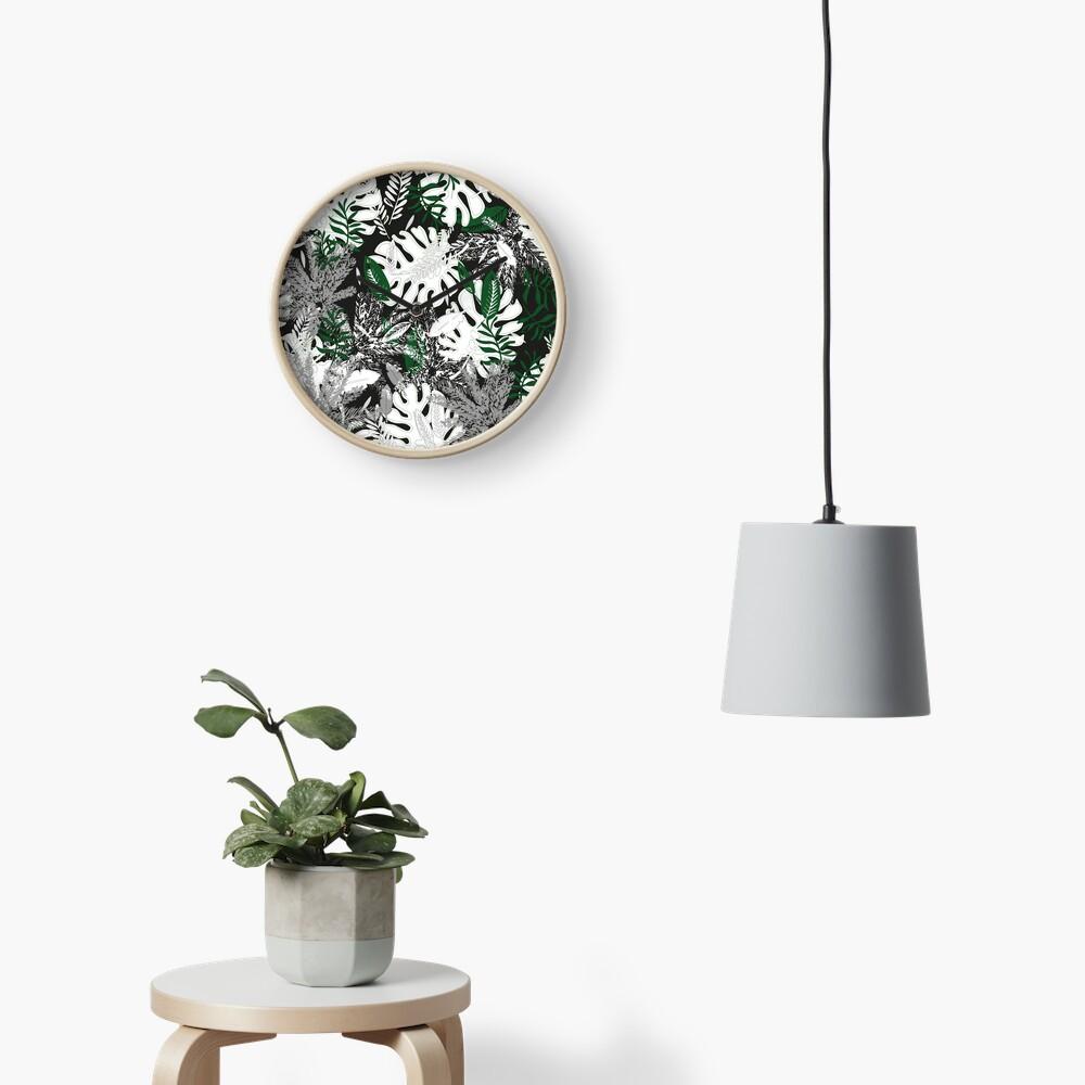 White Monstera Clock