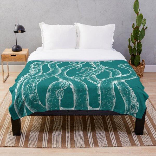 White Tentacles Octopus ink teal turquoise Art Throw Blanket