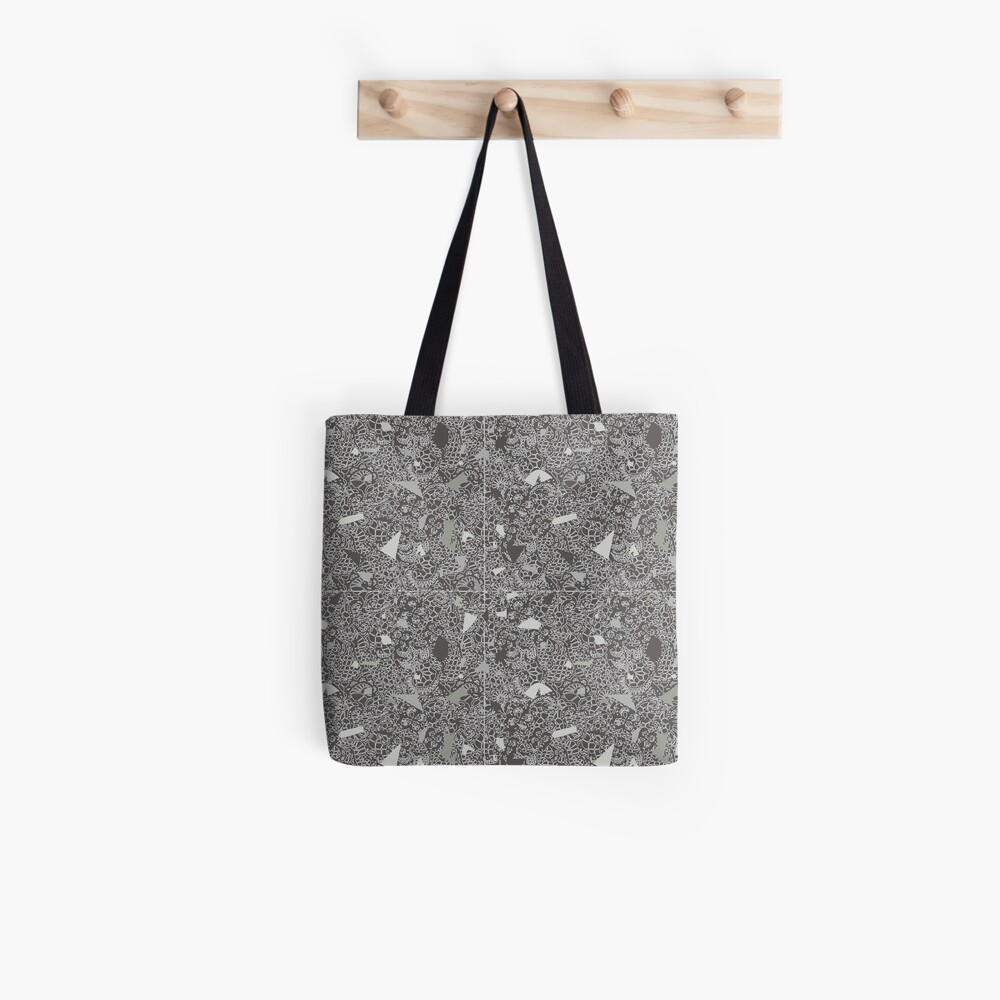 White Lace Tile with Terrazzo in Grey Tote Bag