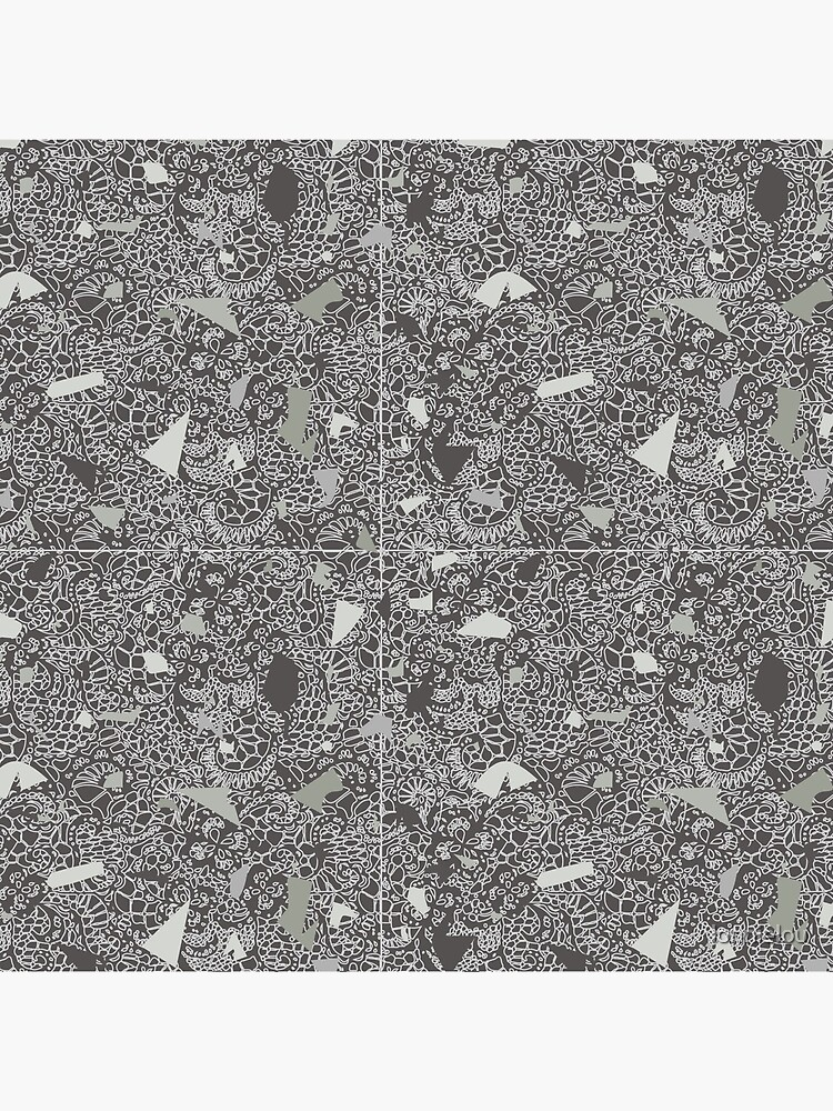 White Lace Tile with Terrazzo in Grey by lonnielou