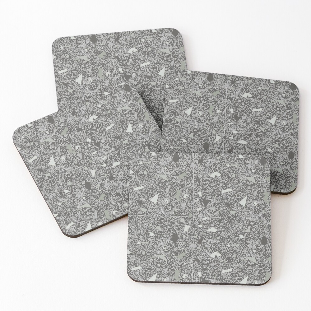 White Lace Tile with Terrazzo in Grey Coasters (Set of 4)