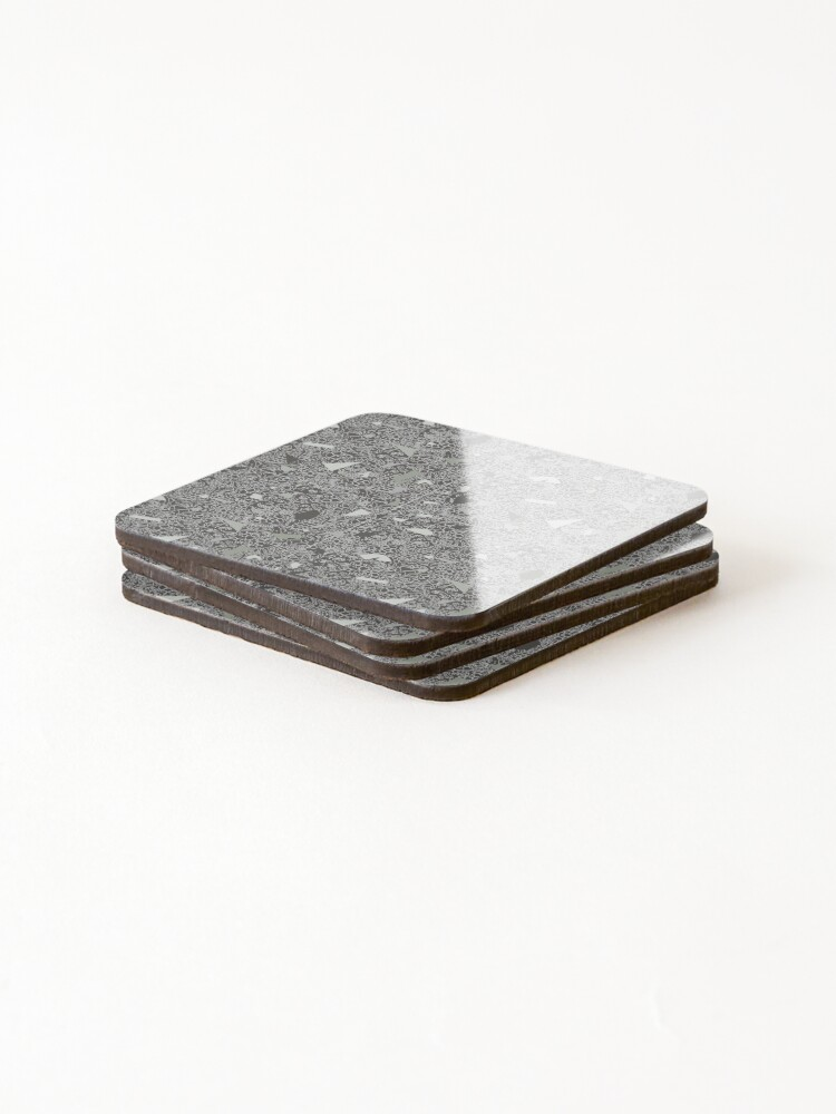 Alternate view of White Lace Tile with Terrazzo in Grey Coasters (Set of 4)