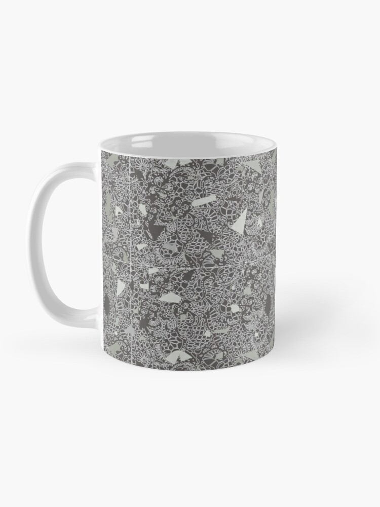 Alternate view of White Lace Tile with Terrazzo in Grey Mug