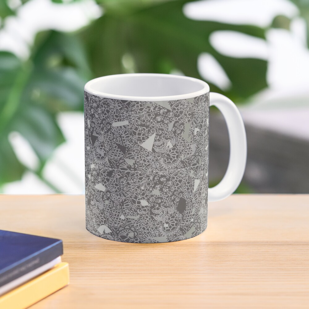 White Lace Tile with Terrazzo in Grey Mug
