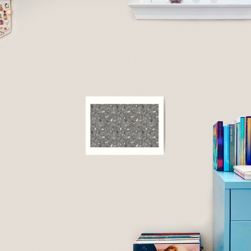 White Lace Tile with Terrazzo in Grey Art Print