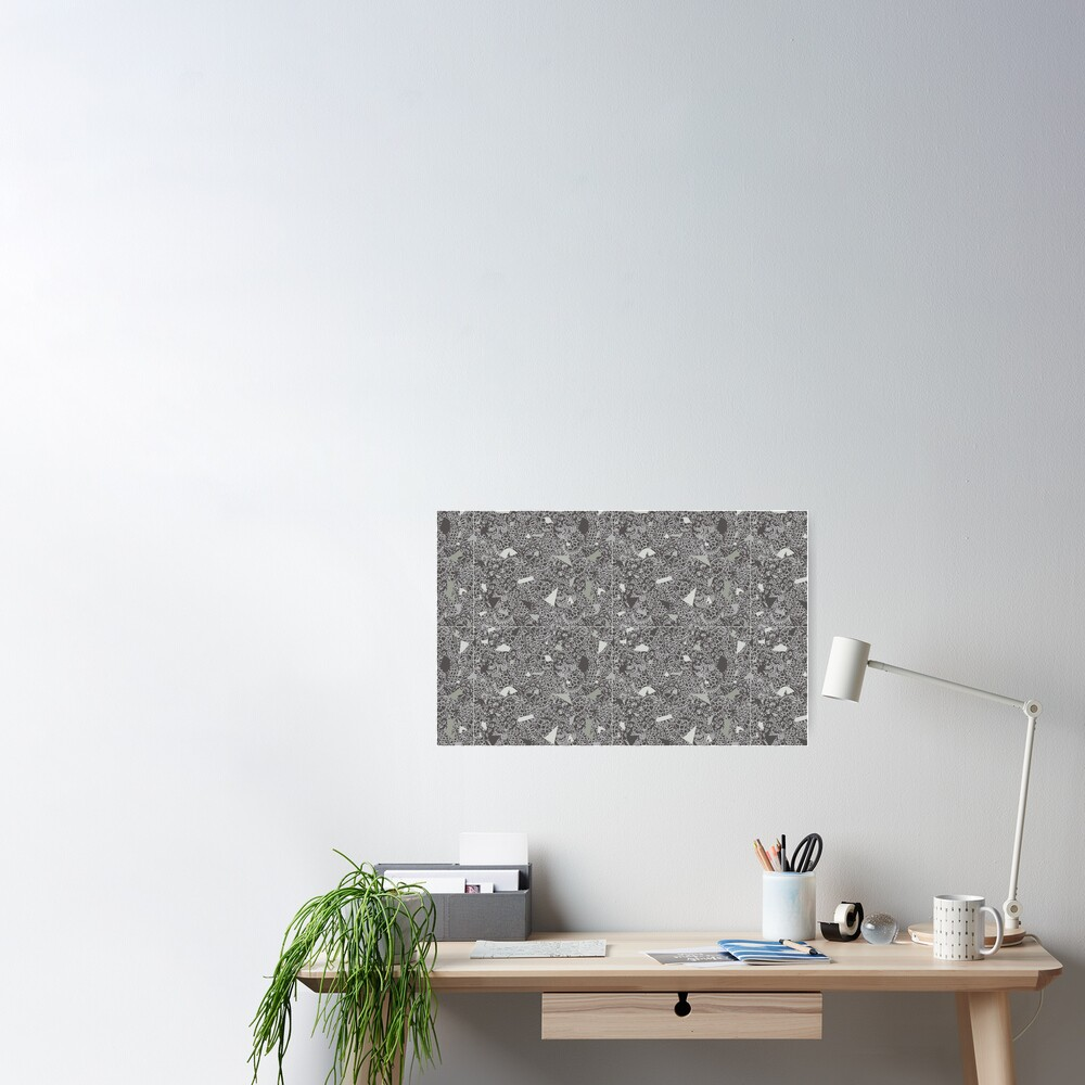 White Lace Tile with Terrazzo in Grey Poster