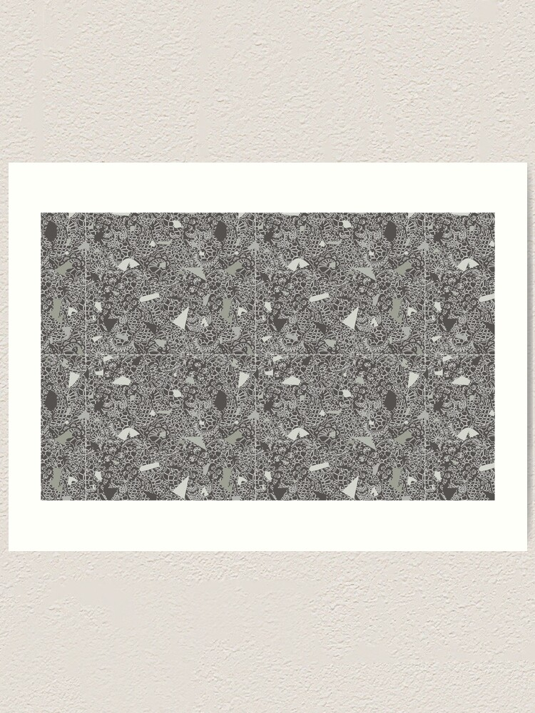 Alternate view of White Lace Tile with Terrazzo in Grey Art Print