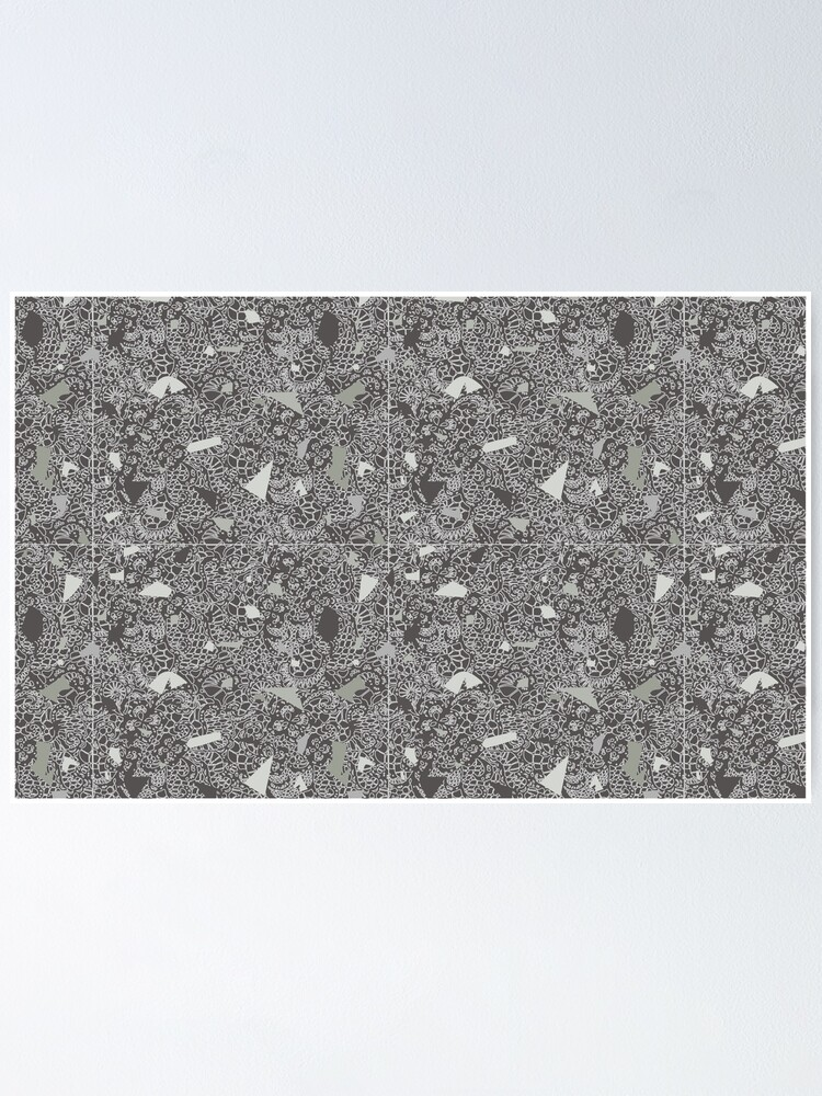 Alternate view of White Lace Tile with Terrazzo in Grey Poster