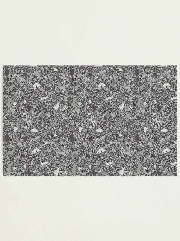 Alternate view of White Lace Tile with Terrazzo in Grey Photographic Print
