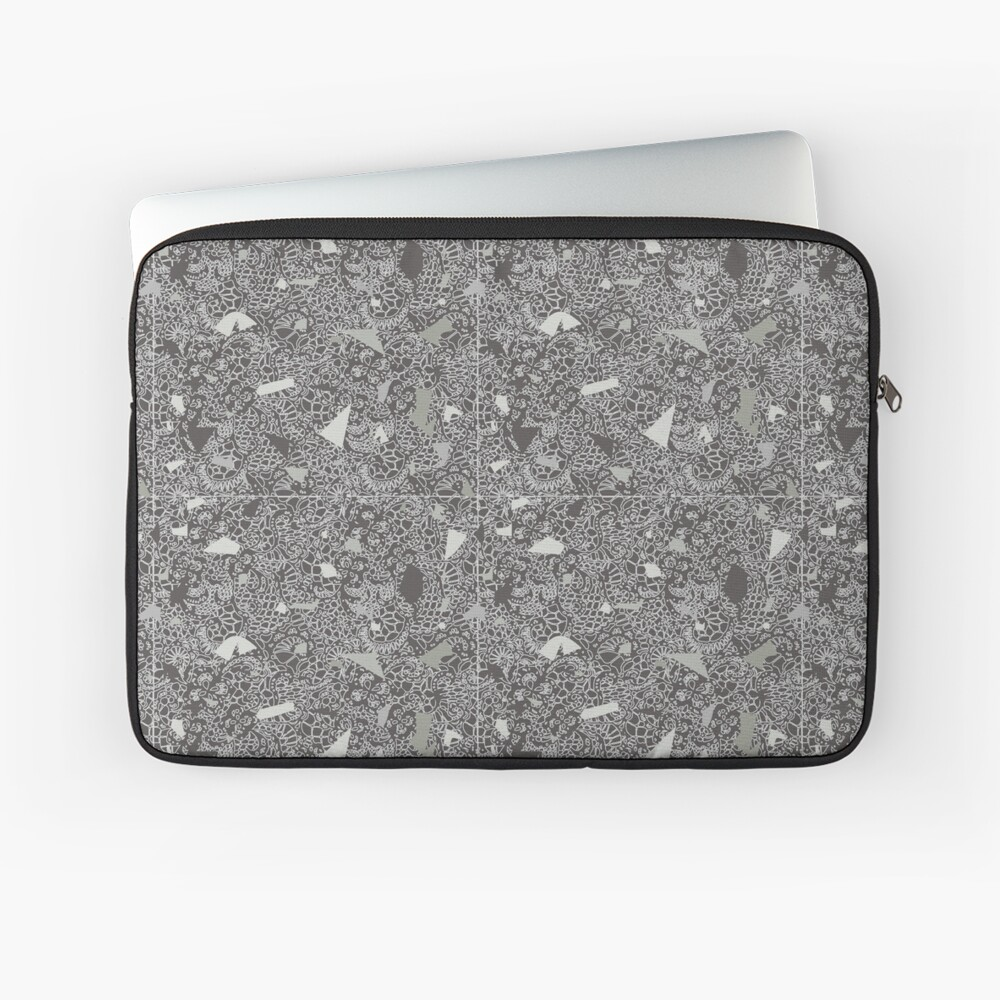 White Lace Tile with Terrazzo in Grey Laptop Sleeve
