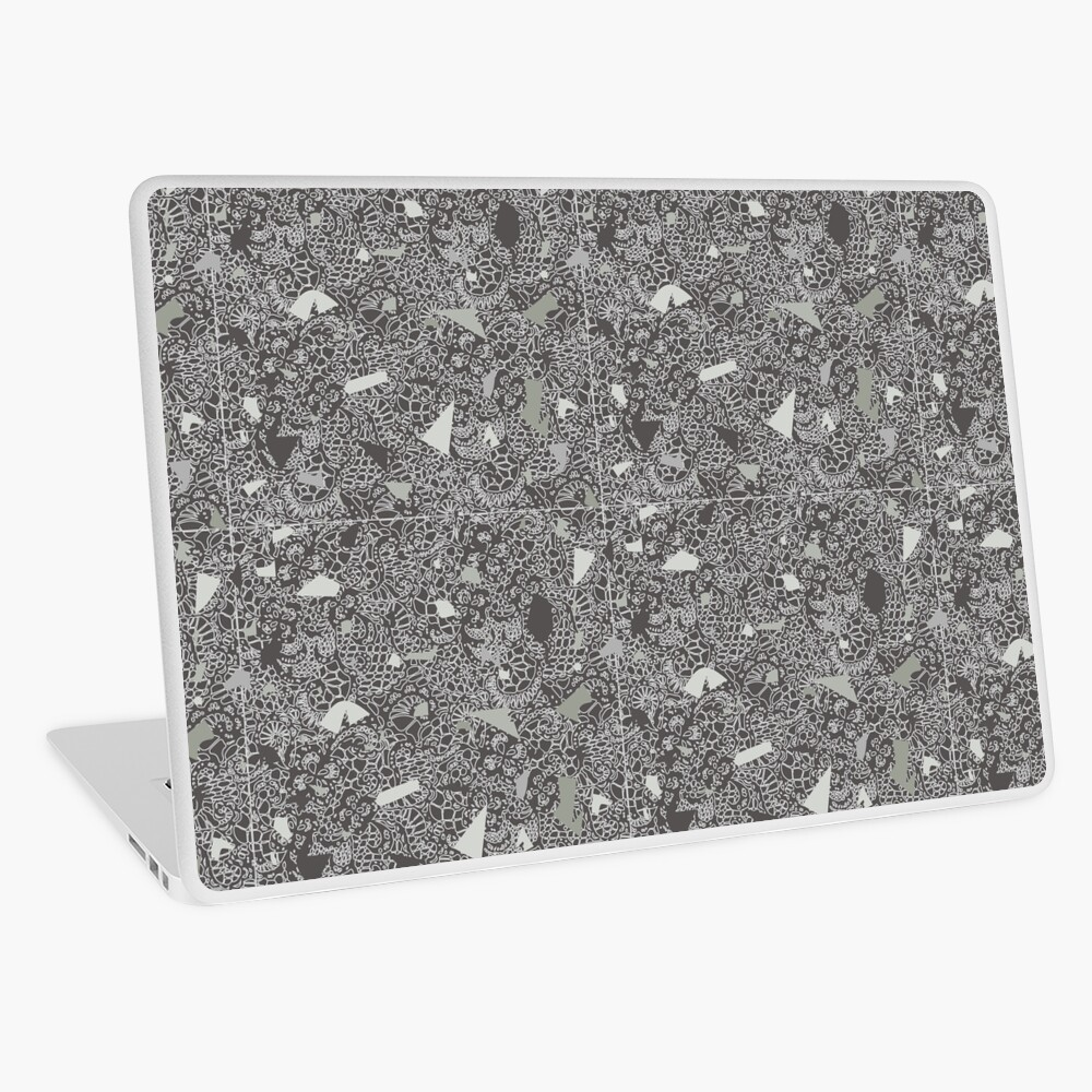 White Lace Tile with Terrazzo in Grey Laptop Skin