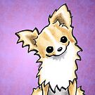 Talk to Me | Long Haired Chihuahua Fawn/White by offleashart