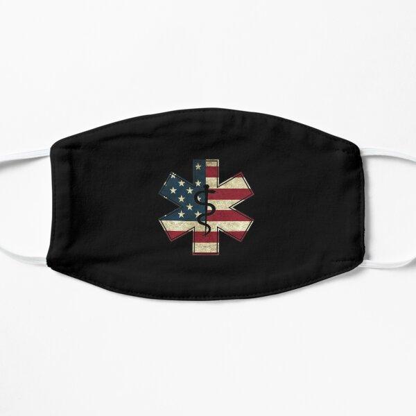 EMT Star of Life EMS First Responder EMTS American Flag Gift graphic Flat Mask