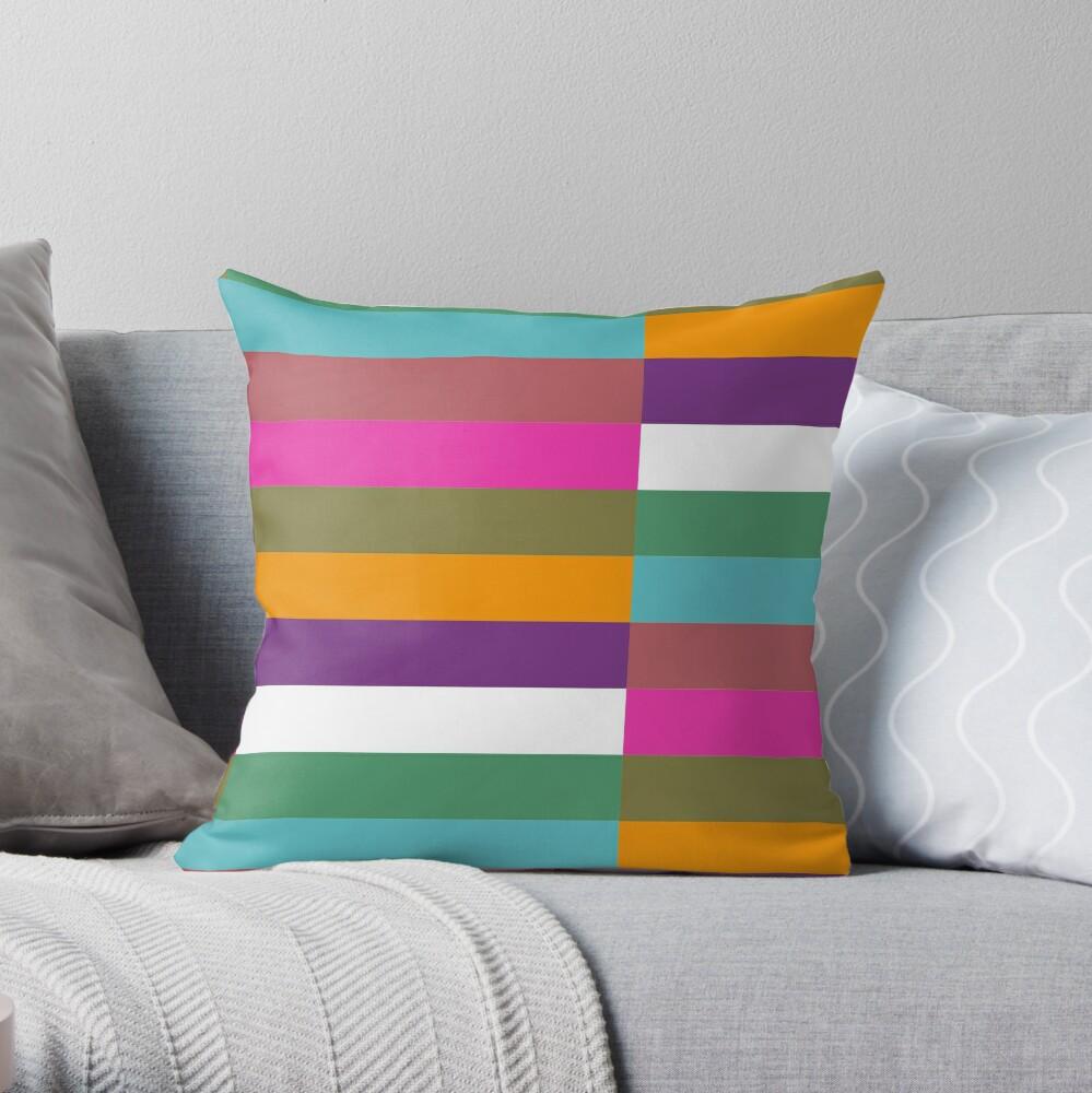 Colour Hue Block Stripes  Throw Pillow