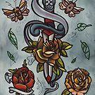 bugs, roses, dagger tattoo flash art by resonanteye