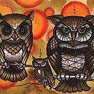 brown owls on branch, tattoo design by resonanteye
