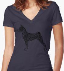 Tribal Style Basenji Women's Fitted V-Neck T-Shirt