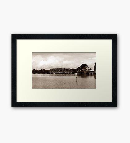 Historic Swing Bridge in Sepia Framed Print