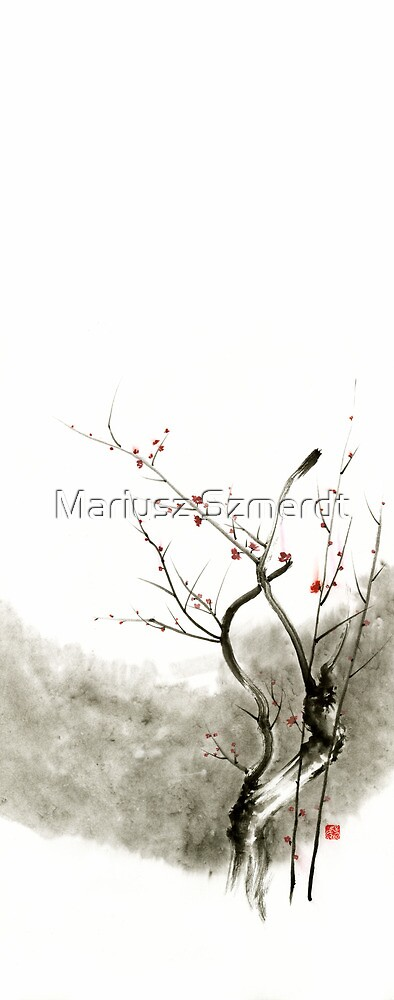 Sakura cherry blossom pink and red flowers tree watercolor original ink painting by Mariusz Szmerdt