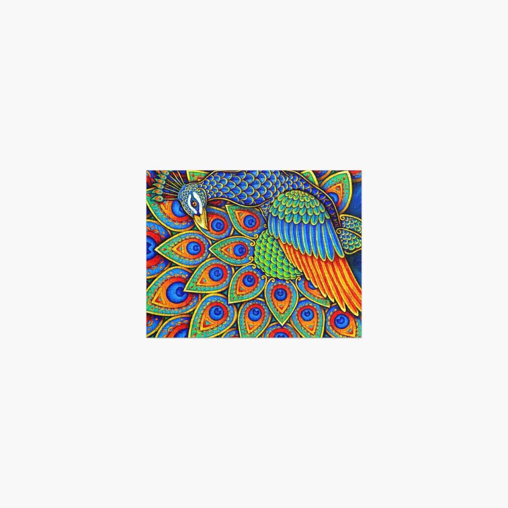 Colorful Paisley Peacock Rainbow Bird Jigsaw Puzzle