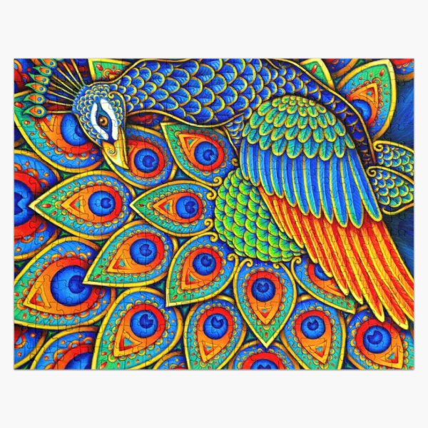 Colorful Paisley Peacock Rainbow Bird Jigsaw Puzzle