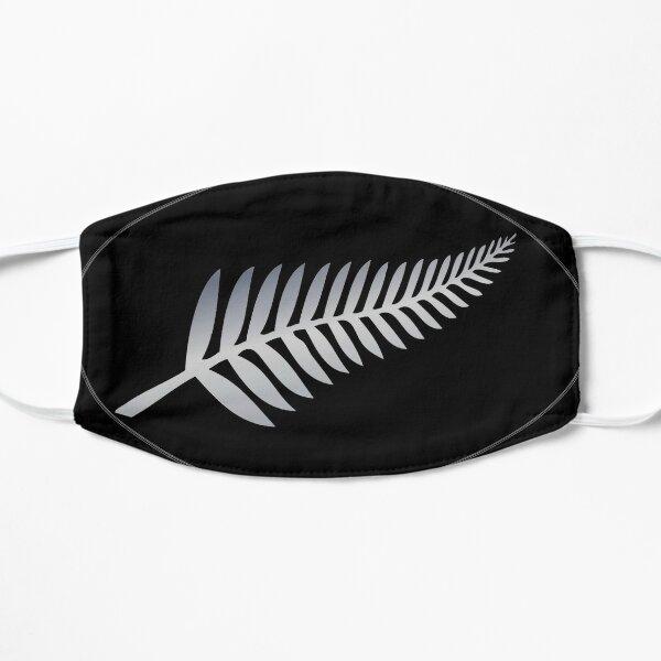 Silver Fern on a black oval background NZ Kiwi symbol Flat Mask