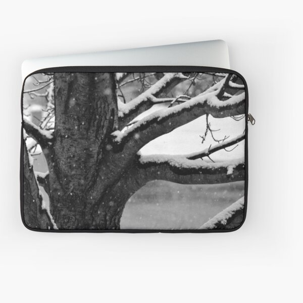 Snowy Tree in Black & White Laptop Sleeve