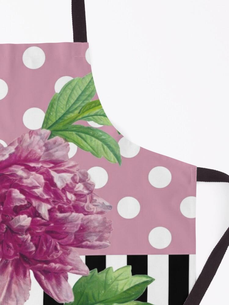 Alternate view of Pink Peony polka dot pink Apron