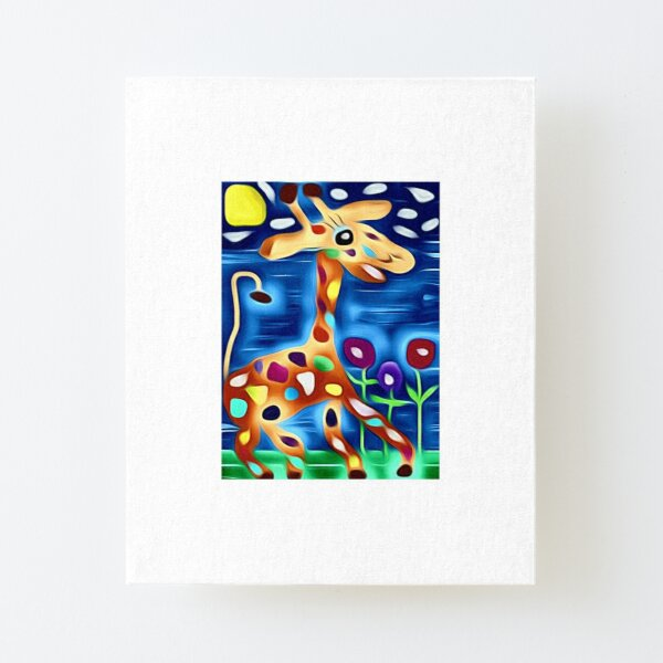 The rainbow Giraffe! Canvas Mounted Print