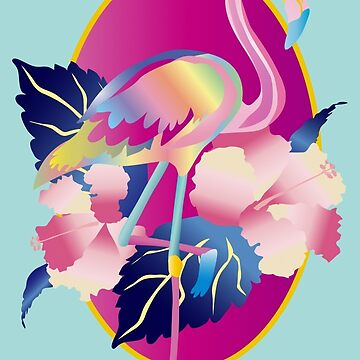 Pretty Pink Flamingo Tropical Hibiscus Flowers by beverlyclaire