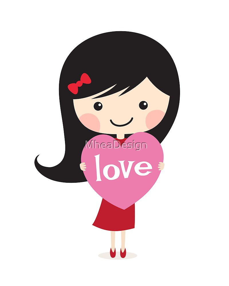 Cute cartoon girl holding a love heart by MheaDesign