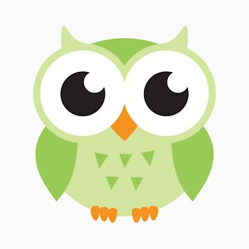 Cute green owl stickers by MheaDesign