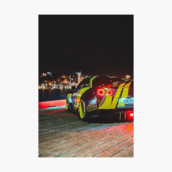 Black wide body Nissan gtr sports car Photographic Print
