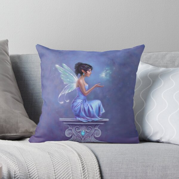 Opalite Fairy with Glowing Butterfly Throw Pillow