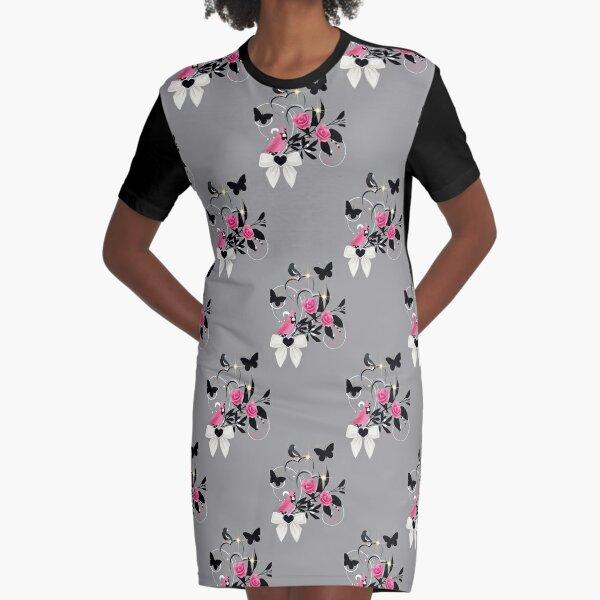 Birds and butterflies. 2 Graphic T-Shirt Dress