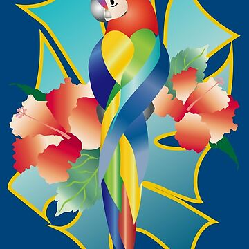 Pretty Rainbow Parrot Tropical Orange Hibiscus Flowers by beverlyclaire
