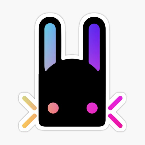 Rainbow Holographic Gradient Jade Rabbit Logo - Destiny  Sticker