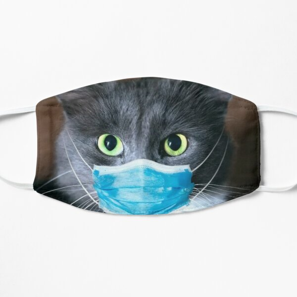 Cute Cat With Face Mask Mask