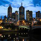 Melbourne Skyline at Dusk by jamjarphotos