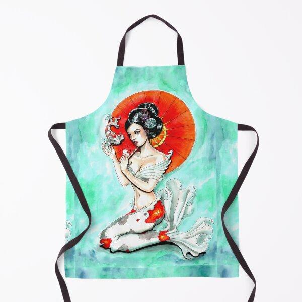 douce et flottante avec une sirène sous-marine Geisha (style) Koi avec parasol. Oeuvre originale sur supports mixtes: encre et marqueurs copiques sur papier. Tablier