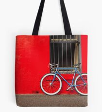 Fixed Gear (Fixie) Bicycle Against a Red Wall Tote Bag
