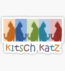Kitsch Cats Silhouette Cat Collage On Pastel Background Sticker