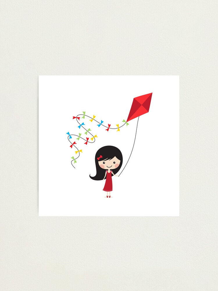 Alternate view of Girl with kite Photographic Print