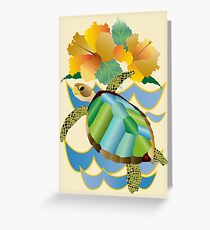 Pretty Sea Turtle Tropical Yellow Hibiscus Flowers Greeting Card