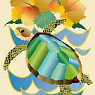 Pretty Sea Turtle Tropical Yellow Hibiscus Flowers by Beverly Claire Kaiya