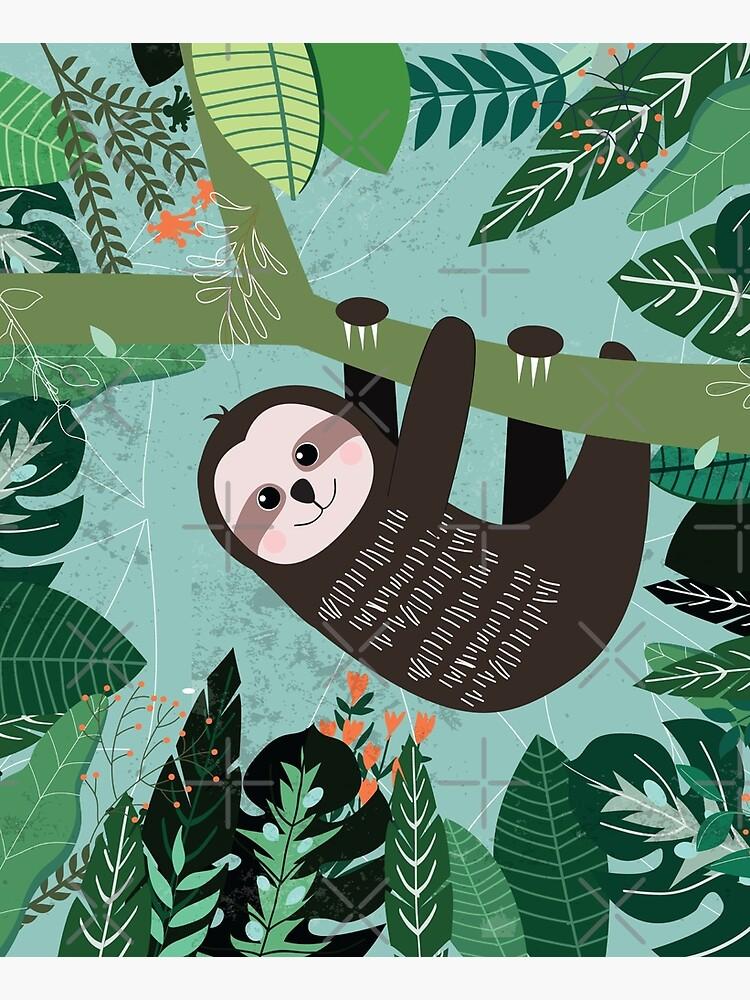 Woodland Jungle Tree Sloth by TeeVision