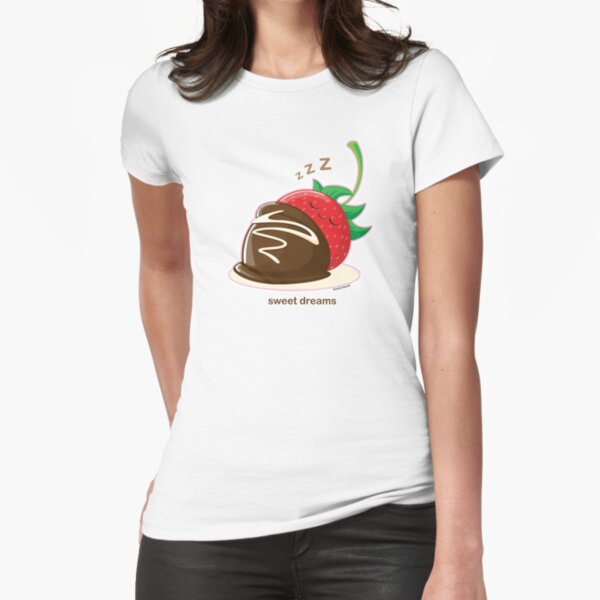 Cute Sweet Dreams Chocolate Strawberry Fitted T-Shirt